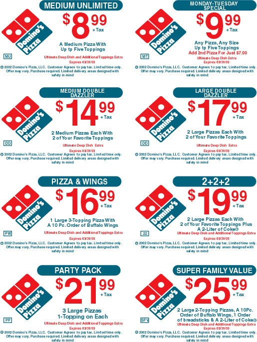 Discount coupons for dominos online order